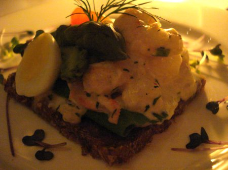 Metane shrimp & greens - paired with Nørrebro Old Odense Ale